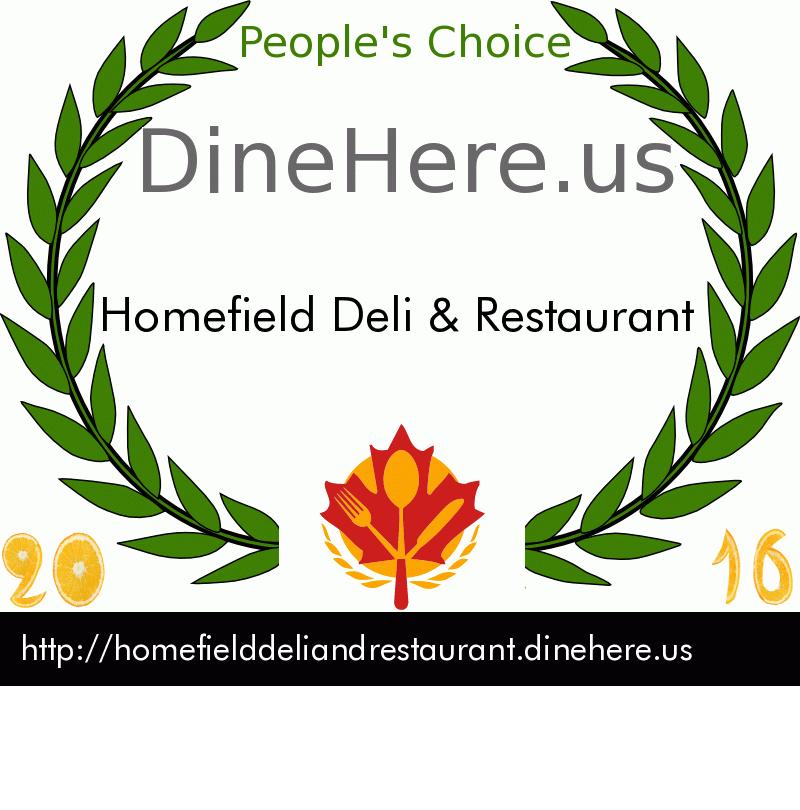Homefield Deli & Restaurant DineHere.us 2016 Award Winner